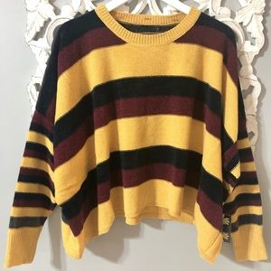 Oversized Cliche Striped Chenille Sweater